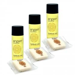 Zestaw kosmetyków dla hoteli Argan szampon-żel 30ml 100szt + mydło 20g 100szt